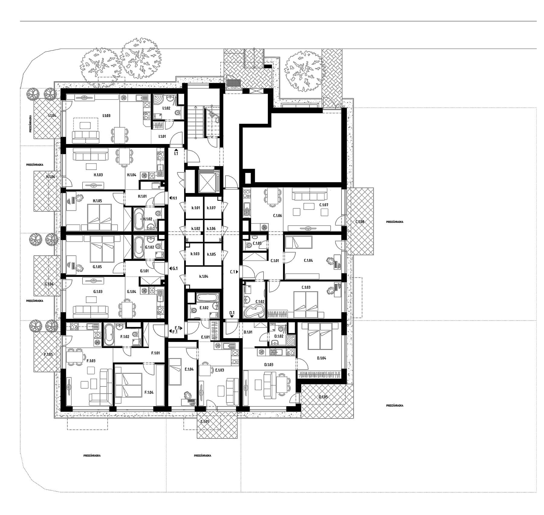 Budova D (27) – Byty – 1.poschodie