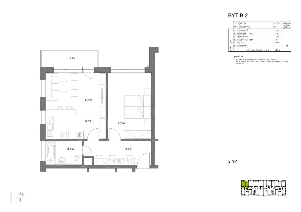 HRON 35 _2.NP _B.2 pôdorys bytu v novostavbe