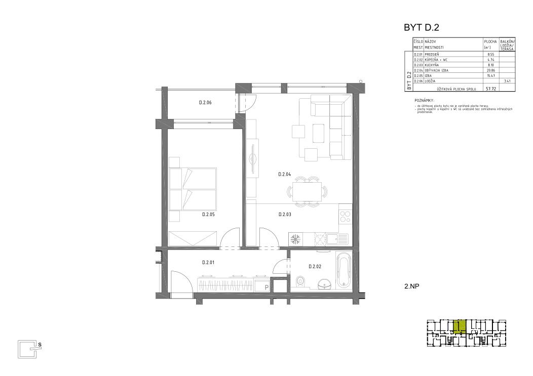 HRON 35 _2.NP _D.2 pôdorys bytu v novostavbe