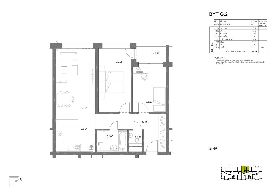 HRON 35 _2.NP _G.2 pôdorys bytu v novostavbe